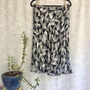 Jones New York Geometric Print Silk Skirt